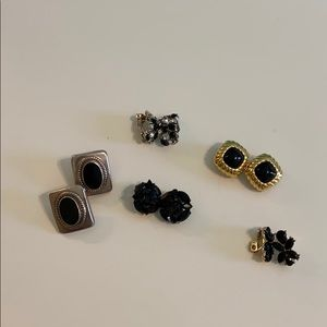 5 sets of black/clear clip-on earrings